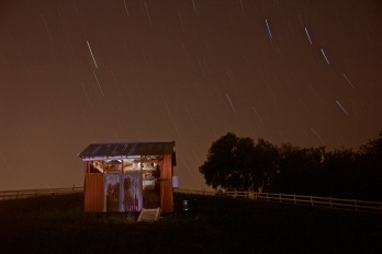 Star trails over A-Coop at the farm.
