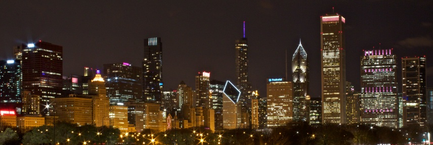 The Chicago Skyline is full of different shapes and colors.