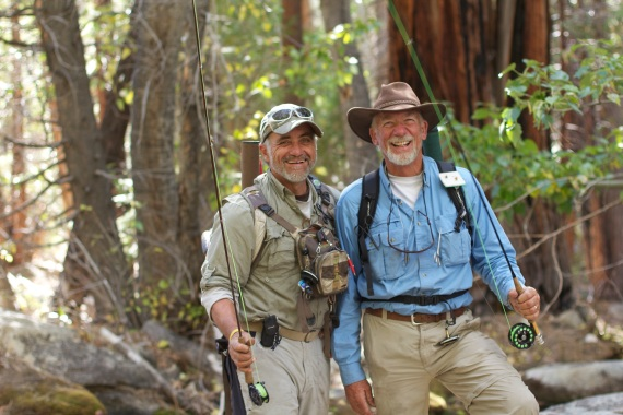 Two long-time friends, Steve and Rodney enjoy fishing in the backwoods (Sequoia Nat'l Park)