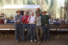 Balch Park Pack Station owner/operator Tim Shew celebrates another successful horsepacking trip with guests.