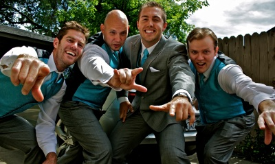 Jonathan and groomsman get psyched up for the upcoming wedding.
