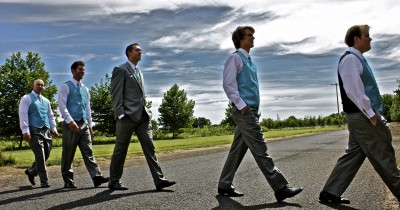 Jonathan and groomsmen before the wedding in Chico, CA.